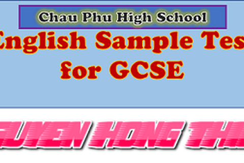 ENGLISH SAMPLE TEST FOR GCSE EXAMINATION